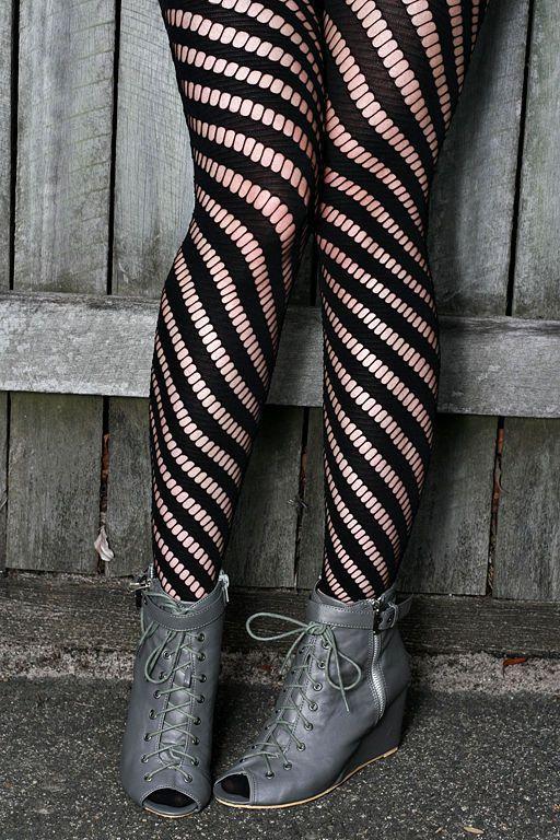 Womens Ladies BLACK Diagonal Nylon Tights Stockings Lingerie Pantyhose