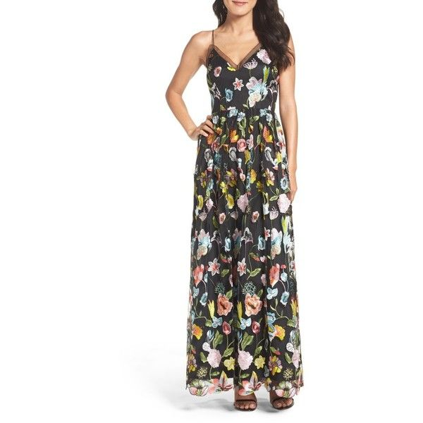 Women's Aidan By Aidan Mattox Embroidered Gown ($350) ❤ liked on Polyvore featuring dresses, gowns, black multi, aidan mattox ball gown, embroidered dress, colorful maxi dress, aidan mattox evening gowns and multi color maxi dress