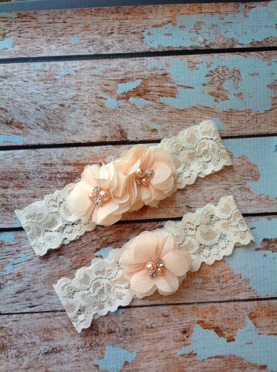 PEACH CHIFFON Wedding Garter Set Bridal Lace Toss Included