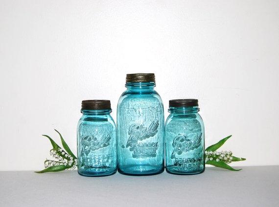 Aqua Blue Jars by CheekyVintageCloset on Etsy, $36.00: Ball Mason Jars