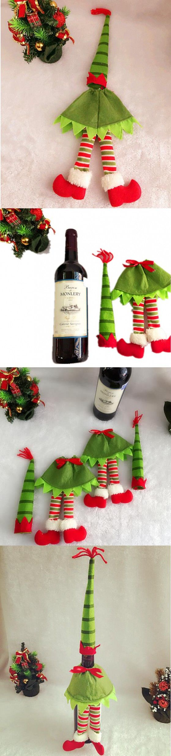 Christmas Decoration Supplies Red Wine Bottle Cover Bags Home Decoration Party Santa Claus Christmas $1.45