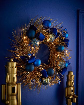 "Sapphire+&+Gold+Pre-Lit+28""+Christmas+Wreath+at+Horchow."