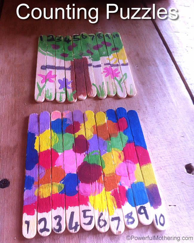 Teach your little ones to count with Popsicle Stick Puzzles. They get to paint their own pictures and learn with them! -- Follow me for more fabulous ideas! http://www.pinterest.com/powermothering/