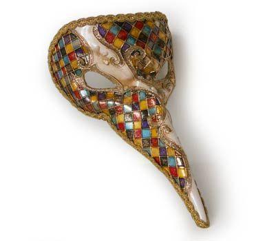 Arlecchino - dottore della peste V31 - Maschera  originale veneziana realizzata interamente a mano, in cartapesta e decorata con colori acrili, passamaneri e glitter.