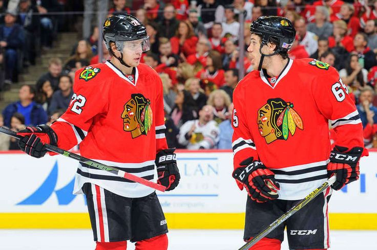 Artemi Panarin #72 and Andrew Shaw #65