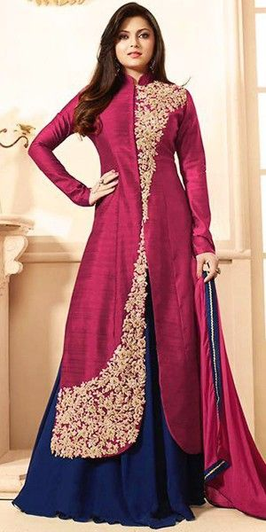 Madhubala Silk Pink Anarkali Suit With Dupatta.