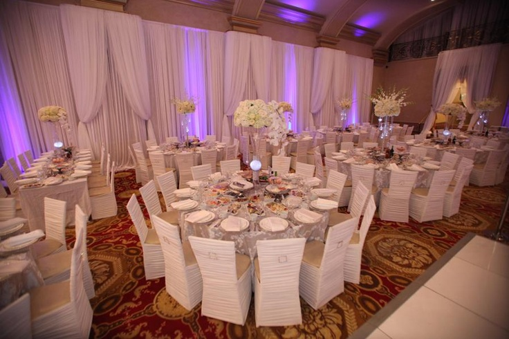 White Chairs At A Wedding Indoor Stock Photo: White Wedding With Chiffon Drapery, Chiavari Chairs With