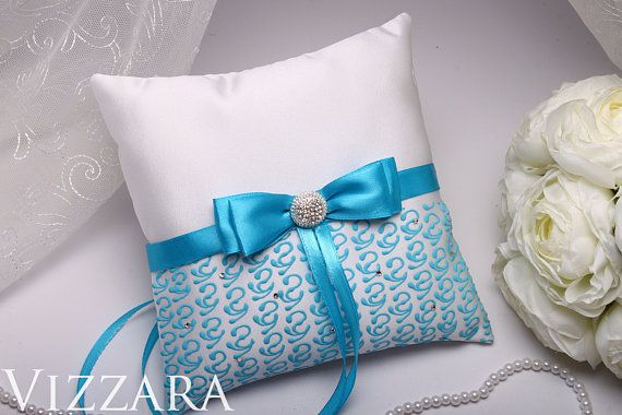 ring pillows for weddings Ring Bearer wedding Aqua blue Wedding ideas vintage wedding Decor Ring Bearer Pillow Wedding accessories Pillow
