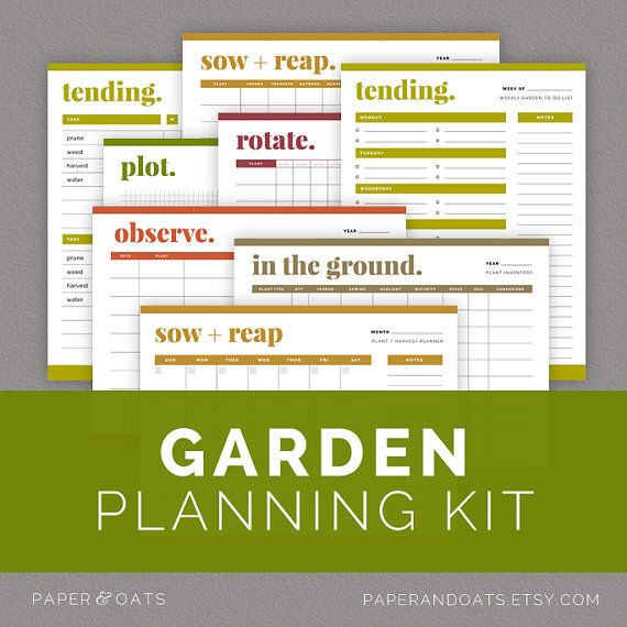 Garden Planning Kit, Garden Calendars, Garden Journal, Outdoor Planner  //  Household PDF Printables