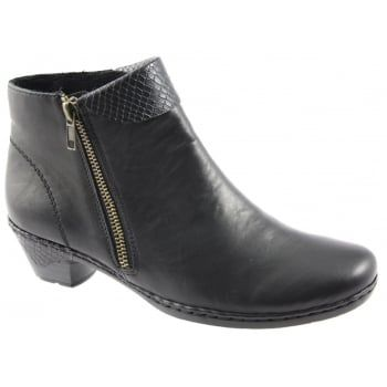 Rieker shoes are renowned for their comfort, style and the anti-stress technology which is unique to Rieker. This means that the shoes are lighter, flexible, shock absorbing and roomier. Rieker is one of Europe's premier quality brands and Cristallin is a casual ladies ankle boot in a wonderful plain soft leather. Side zip for ease of entry. http://www.marshallshoes.co.uk/womens-c2/boots-c10/rieker-womens-cristallin-black-zip-ankle-boot-76961-00-p4178