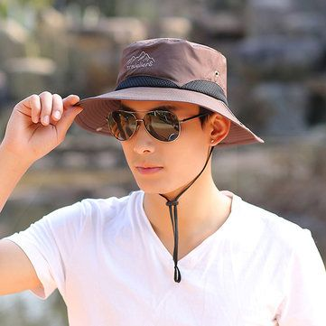 Women Men Summer Wide Brim Sunshade Fisherman Hat Foldable Outdoor Breathable Fisherman Cap at Banggood