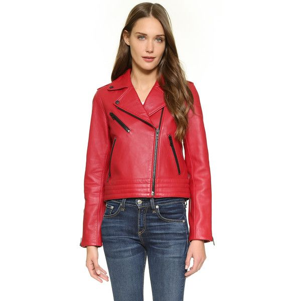 Rag & Bone/JEAN Chrystie Leather Jacket ($600) ❤ liked on Polyvore featuring outerwear, jackets, red, leather biker jacket, red jacket, quilted moto jacket, real leather jacket and leather jacket