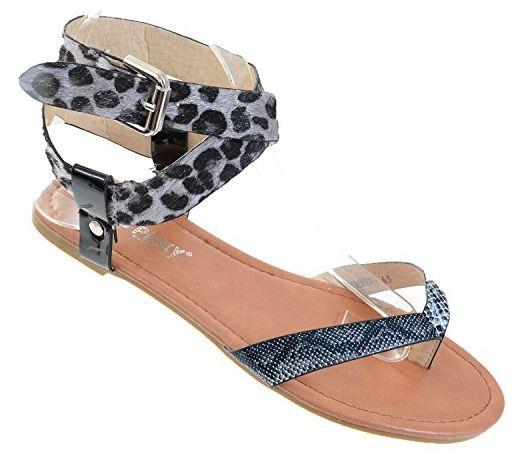 fourever Funky Damen-Kunstleder Criss Kreuz Fußkettchen String Sandale Gr. 5 US, leopard - Sandalen für frauen (*Partner-Link)
