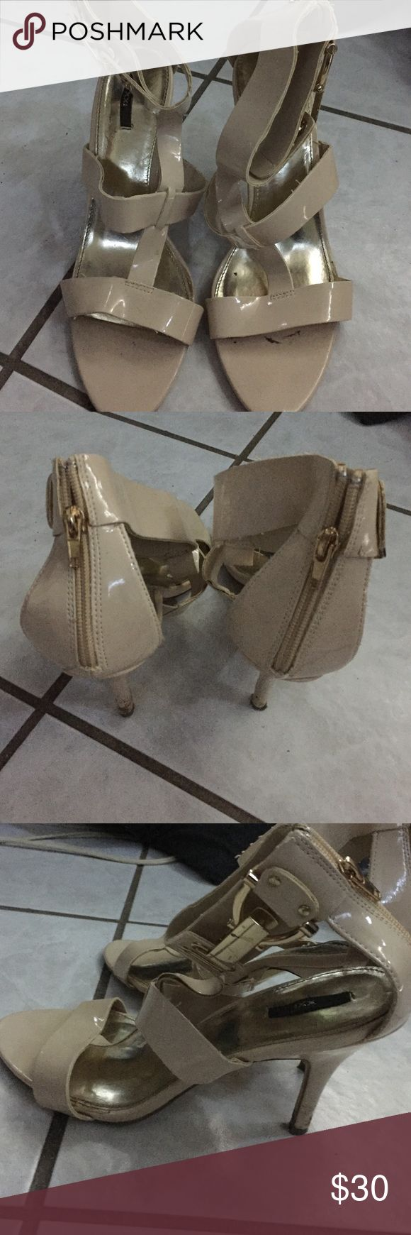 Pale cream Strappy heels Good condition. Only worn once. Zippers on back. Heel approximately 2 inches. Ask questions and make offers. Shoes Heels