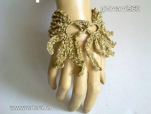 Arany színű különleges horgolt karkötő - 1500 Ft - Nézd meg Te is Vaterán - Karkötő, karperec, karlánc - http://www.vatera.hu/item/view/?cod=2363767427