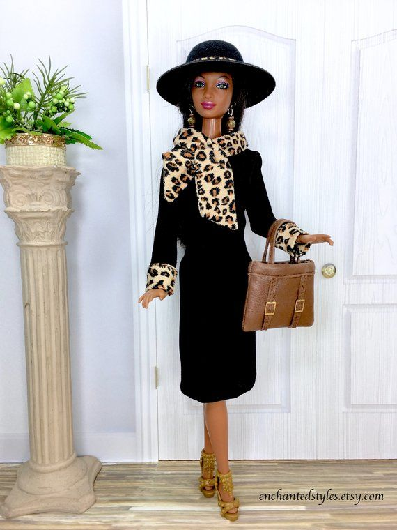9209c8088e1a52 ON HOLD for LG - Black Doll Dress with Animal Print Bow | Barbie ...