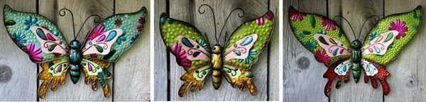 Metal Butterflies Set OF 3 Colourful Wall Garden Plaques Largest 20 in. wide.