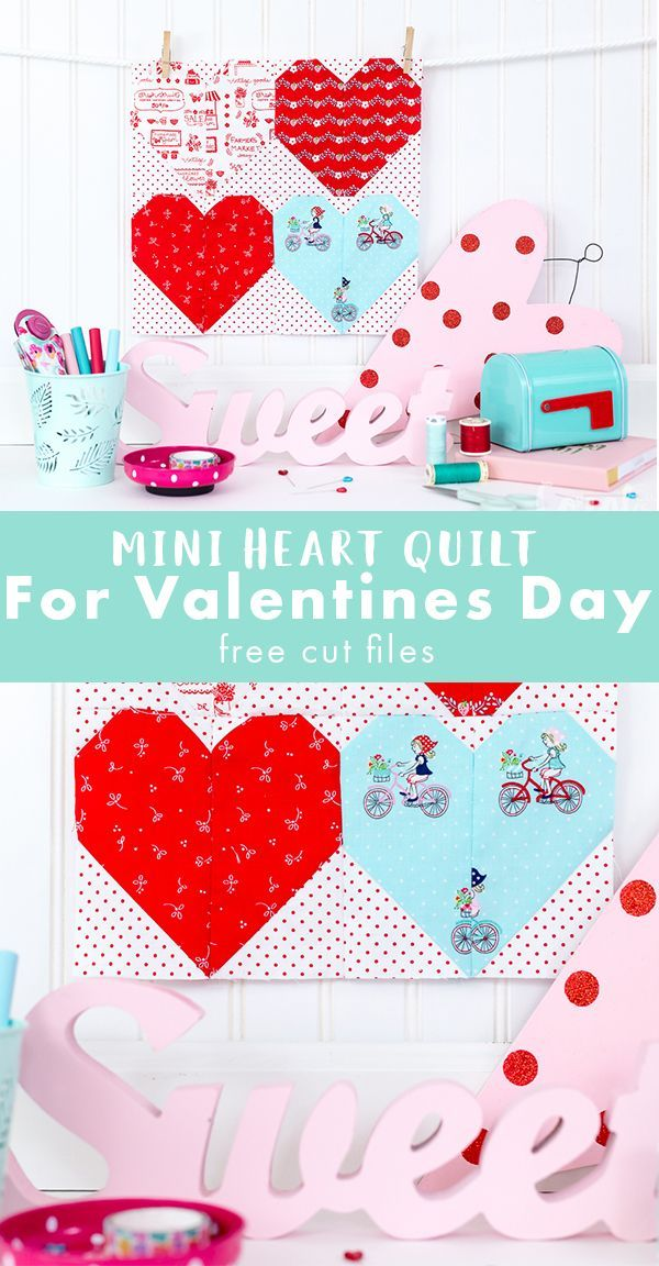 Mini Heart Quilt Pattern.   Cute Valentines Day quilt with adorable heart blocks is easy to make and comes with free svg cut files for quilting with the cricut maker.