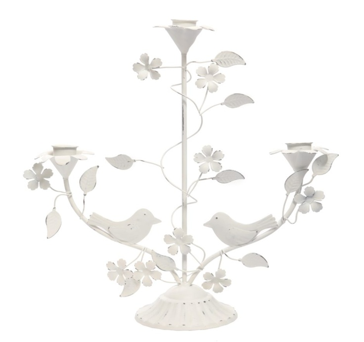 Birds and Flower Triple Candlestick