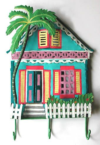 "Wall Hook - Hand Painted Gingerbread House Hook - Haitian Steel Drum Art - Tropical Design - 12"" x 17"""