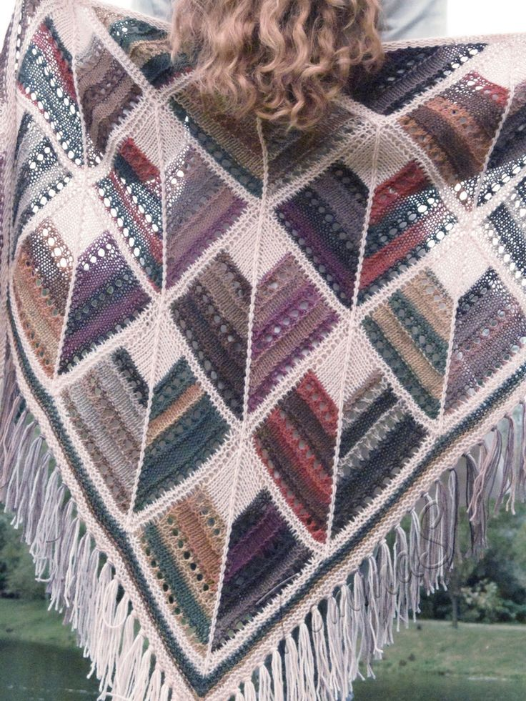"Knit shawl ""Mosaic. Byzantium"" (knitted shawl, handmade wrap, knitting wool shawl, knit patchwork, modular squares, domino knit)"