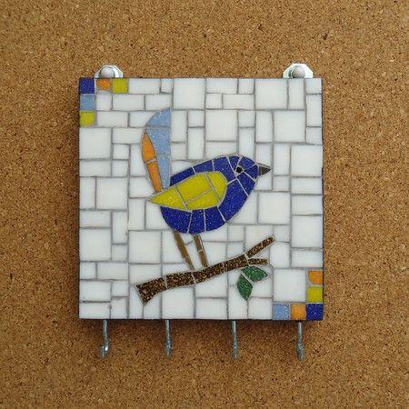 Chaveiro em mosaico - Pássaro Azul