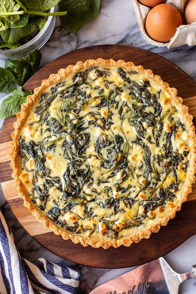 Spinach Feta Pie With An Almond Flour Crust Recipe Spinach Feta Pie Spinach Feta Feta