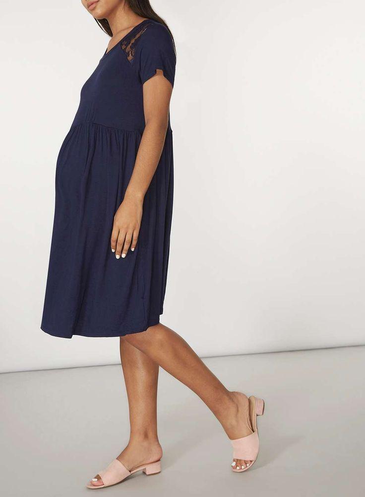 Womens **Maternity Navy Lace Insert Tea Dress- Blue