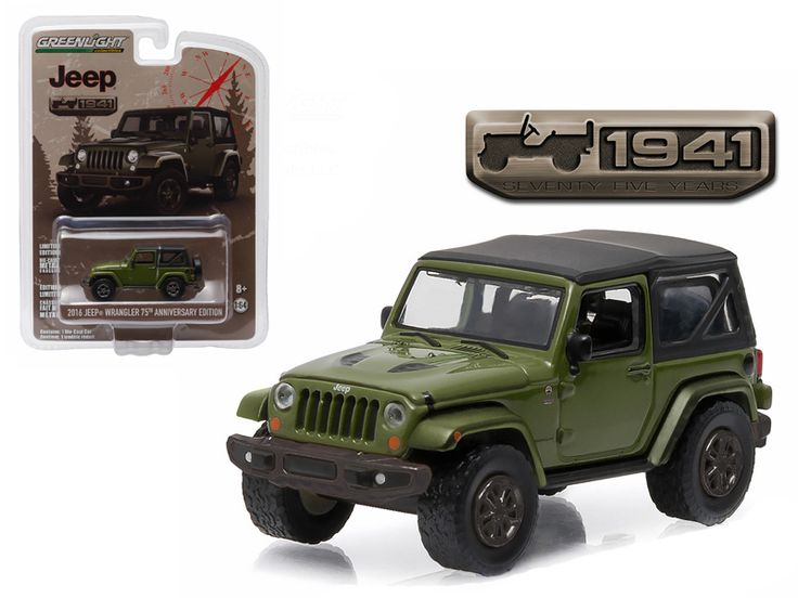 2016 Jeep Wrangler Sarge Green Jeep 75th Anniversary Collection 1/64 Diecast Model Car by Greenlight - Brand new 1:64 scale car model of 2016 Jeep Wrangler Sarge Green Jeep 75th Anniversary Collection die cast model car by Greenlight. Limited Edition. Has Rubber Tires. Comes in a blister pack. Detailed Interior, Exterior. Metal Body and Chassis. Officially Licensed Product. Dimensions Approximately L-2 Inches Long.-Weight: 1. Height: 5. Width: 9. Box Weight: 1. Box Width: 9. Box Height: 5…