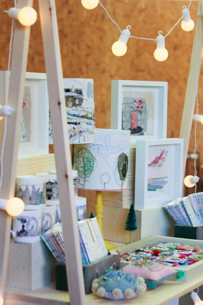 Clever craft fair display with A-frame and white festoon lights by Marna Lunt at the Weekend of the Maker