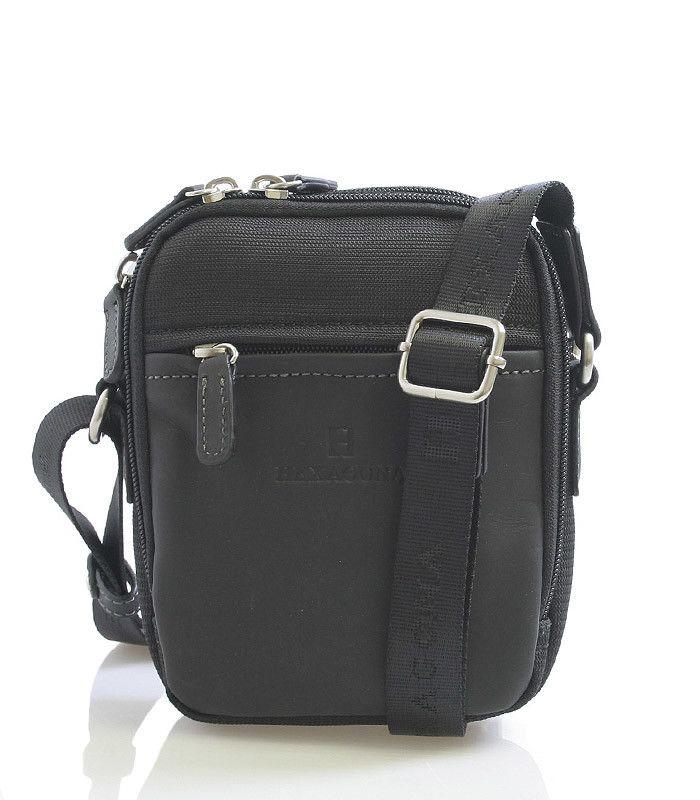 #taška  Pánská černá polo-kožená taška přes rameno na zip. Dvě hlavní přihrádky na zip, dále jedna kapsa se zipem a dvě bez zipu. Zepředu i zezadu kapsa na zip. Součástí tašky je nastavitený popruh z nylonu. Materiál - předek + úchyty z hovězí kůže, ostatní části nylon.