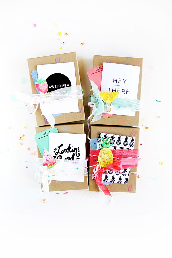 Summer paper kit packaging via Inspire Lovely Etsy - Hand painted Pineapples + lemons + strawberries + watermelon slices turned into paper clip embellishments for scrapbooking XOXO Paper cards for sale via Inspire Lovely etsy shop
