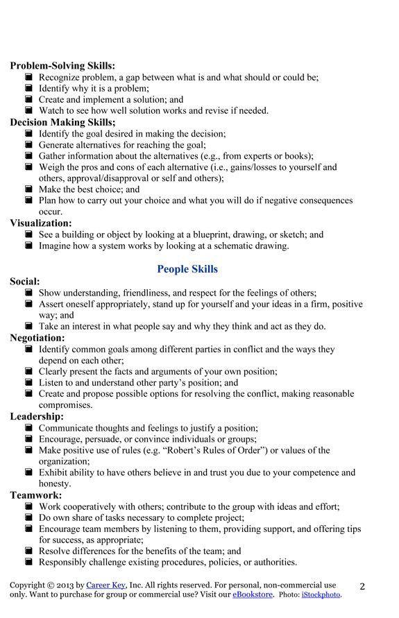Free Independent Living Skills Worksheets List Of Skills Living Skills Job Interview Advice