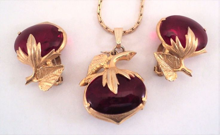 Vtg SCHIAPARELLI Earrings & Necklace Set Huge Red Bubble Stones +Goldtone Leaves | eBay