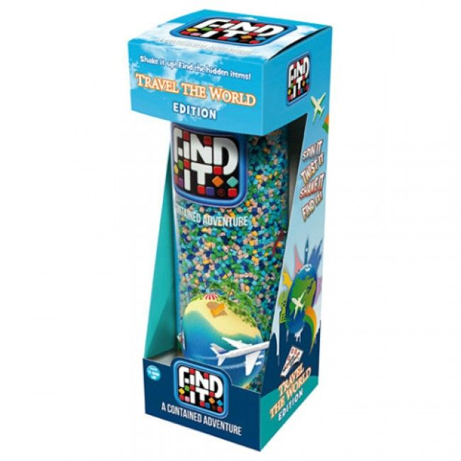 This fun game offers entertainment on the go - find 40 unique items immersed in the recycled plastic pellets! Twist, shake and turn it - what will you find next? Comes with playing cards and can be used by multiple players! #travel #findit #entropytoys #travelgame