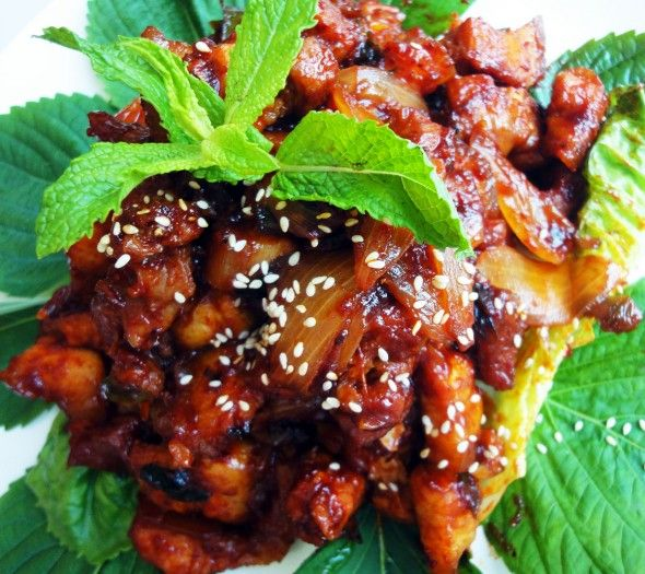 Doejibulgogi (Spicy stir-fried pork) from Maangchi. I made this with chicken instead of pork and it was a big hit though very spicy.