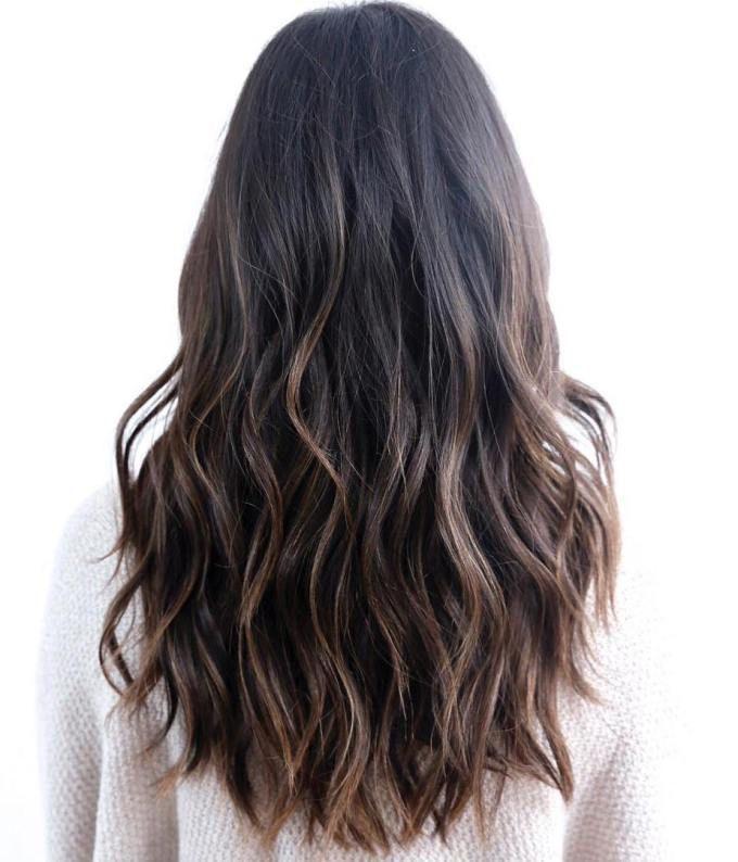 Wavy black hair with brown balayage ... #balayage #brown #longhairst ...