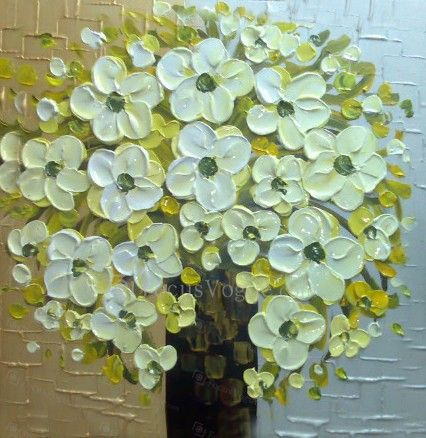 """Hand-painted Flower Oil Painting with Stretched Frame-16"""" x 16"""" - Focus Vogue"""