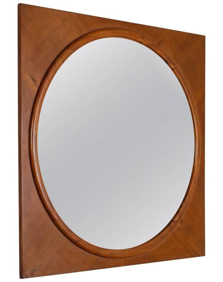 large round wall mirror in square walnut frame italy 1940s - Round Wall Mirror