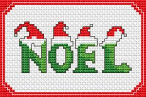 "Simple cross stitch pattern of the word ""Noel"" or ""Christmas season""."