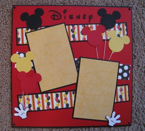 This 12 x 12 2-page scrapbook layout is ready for your Disney photos. Many embellishments like rhinestones and die cut Mickey images. Hands