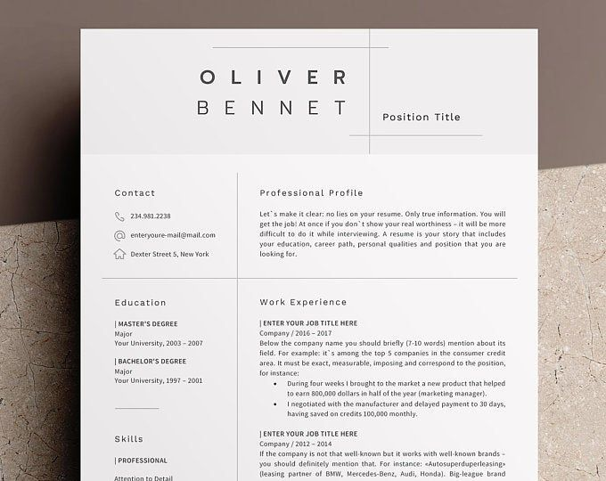 Project Manager Resume Template For Word Professional Creative Modern Resume Design Cover Letter Cv Design Simple Clean Minimalist Minimalist Resume Template Project Manager Resume Resume Template