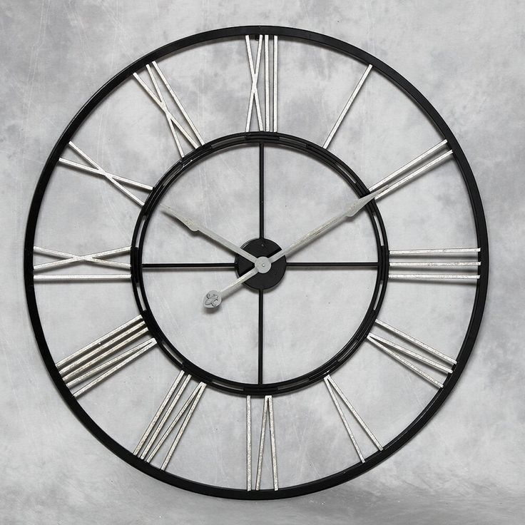 giant wall clock with silver numerals