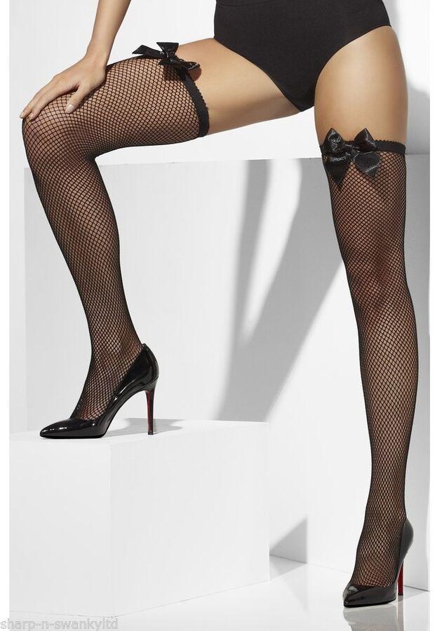 88b8e9f641f Femme Sexy Noeud Noir Garni Résille Déguisement Bas Autofixant  Lingerie Noir Garni Noeud