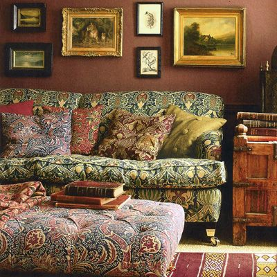 William Morris: 'Indian' fabric on ottoman, Granada on sofa - Indiennes