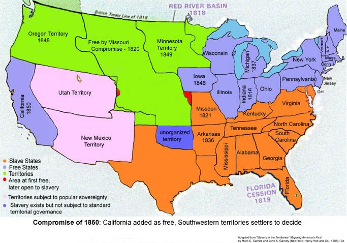 Missouri Compromise Map Activity - Compromise of 1850 map