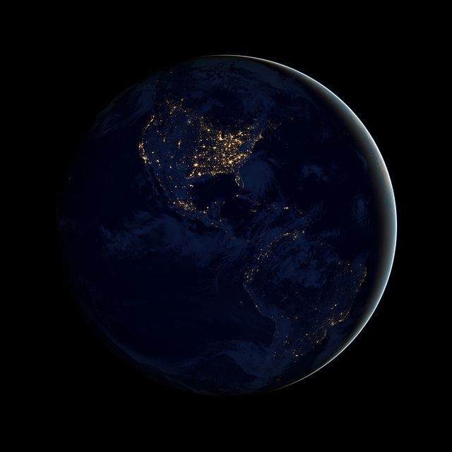 Black Marble - Americas  NASA image acquired April 18 - October 23, 2012  This image of North and South America at night is a composite assembled from data acquired by the Suomi NPP satellite in April and October 2012. The new data was mapped over existing Blue Marble imagery of Earth to provide a realistic view of the planet.