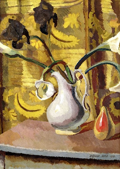 Irises, Lilies and Pear, 1918 (oil on canvas) / Duncan Grant