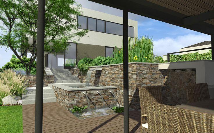 malý vodní prvek v soukromé zahradě / small water feature in private garden