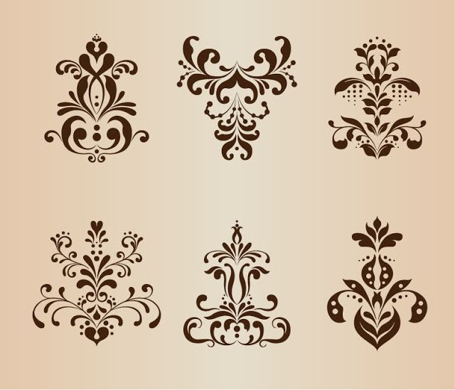 Abstract Symmetrical Floral Pattern Vector  Set it is in eps format                  download